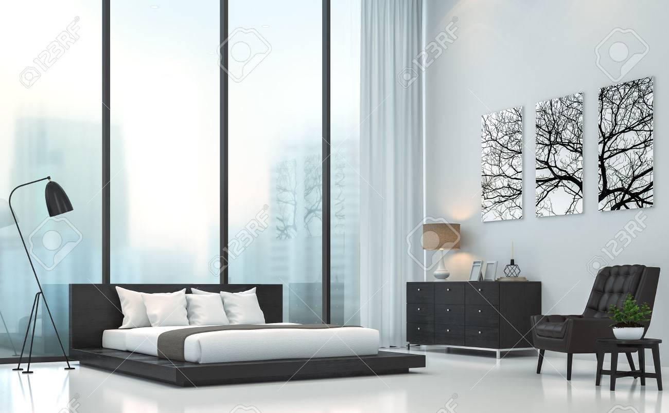 Image de rendu 3D moderne chambre blanche.Il y a plancher blanc.Meublé avec  des meubles en bois noir et en cuir .Il y a de grandes fenêtres donnent ...