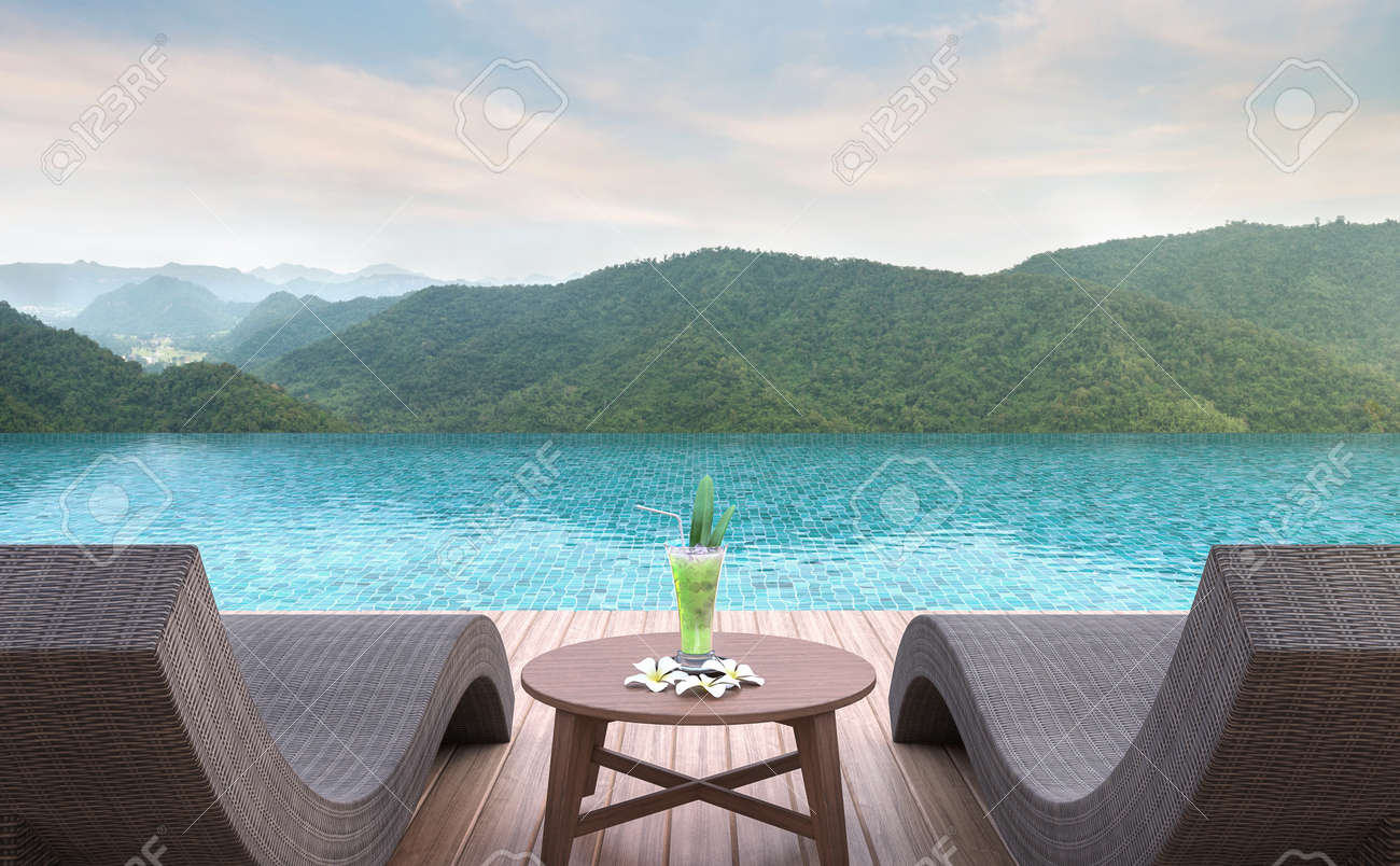 Charmant Stock Photo   Swimming Pool Terrace With Mountain View 3d Rendering  Image.Furnished With Rattan And Wooden Furniture. There Are Surrounding  With Nature And ...