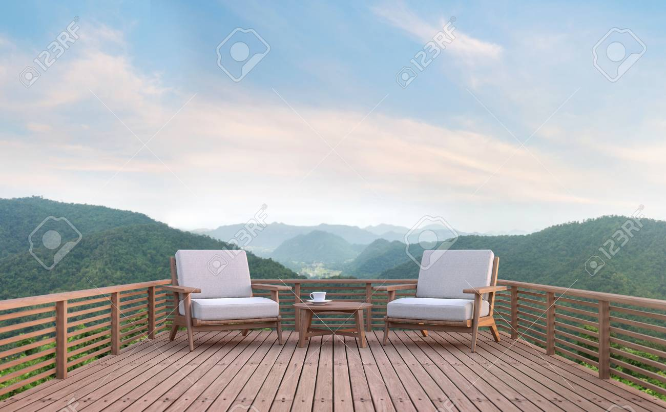 Wood Balcony With Mountain View 3d Rendering Image There Are