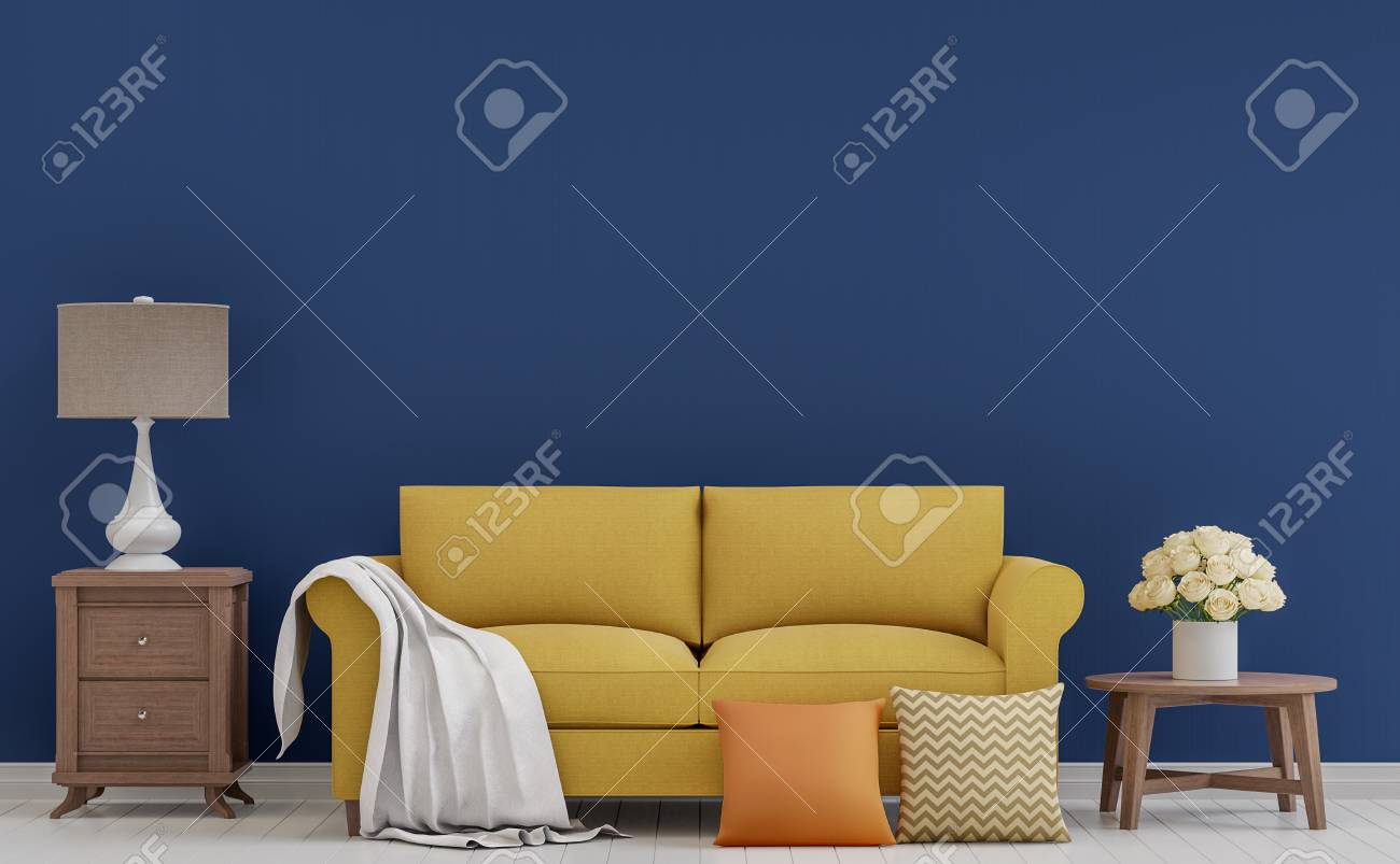Colorful vintage living room 3d rendering image.The room has white wooden floor,dark blue wall furnished with yellow fabric sofa - 89454094