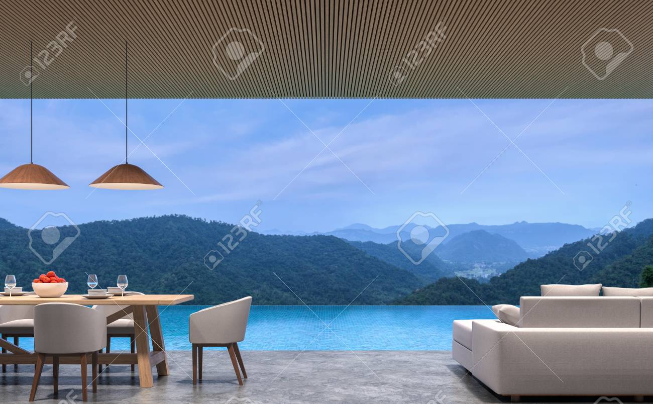 Loft style pool villa living and dining room with mountain view 3d rendering image.The room has polished concrete floor,wood lattice ceiling.Looking out to the mountains view. - 89952854