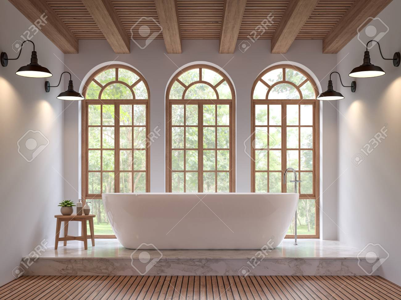 Scandinavian bathroom 3d rendering image.The Rooms have wooden and white marble floors,wooden ceilings and white walls .There are arch shape window overlooking to the nature. - 91682425