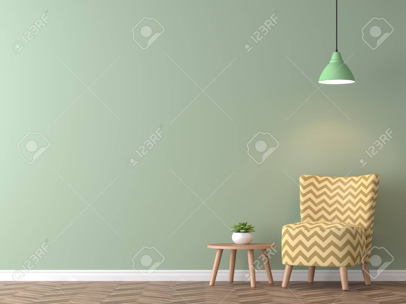 Modern vintage living room with green wall 3d rendering image.There..