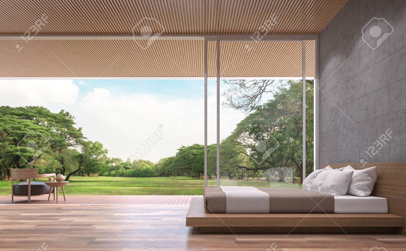 Modern contemporary bedroom 3d rendering image.The Rooms have..