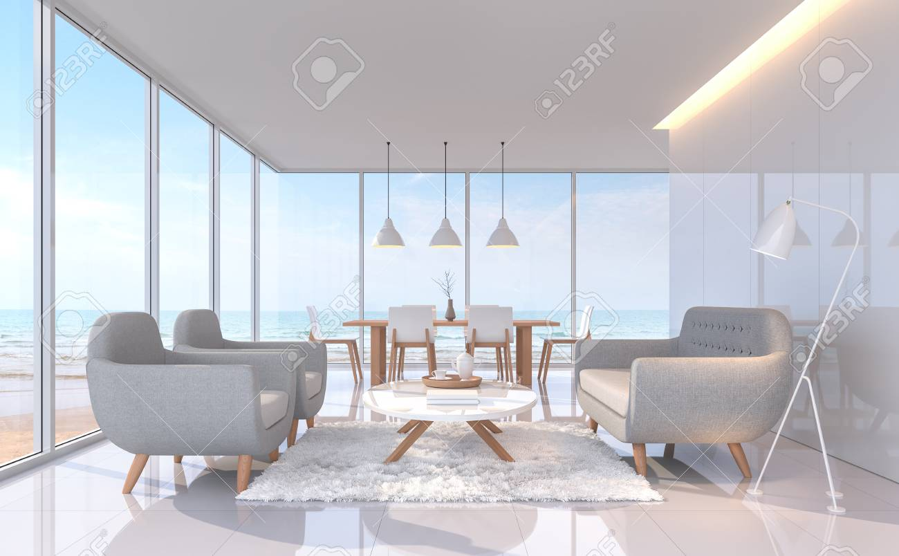 Modern White Living And Dining Room With Sea View 3d Rendering