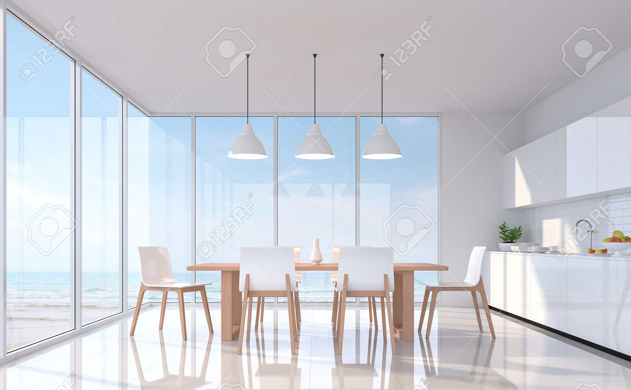 Modern white dining room with sea view 3d rendering image.There..