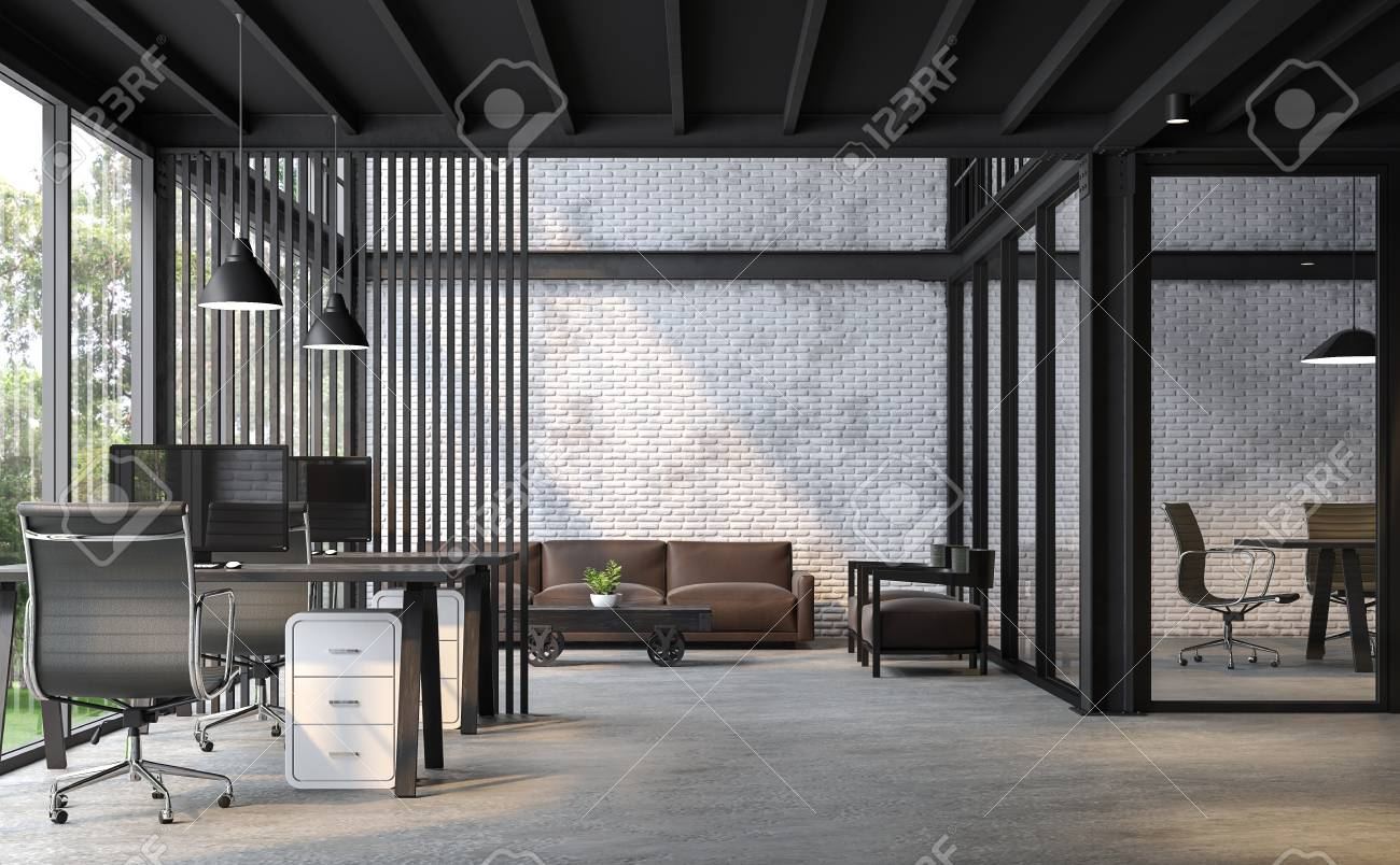 industrial loft style office 3d renderthere are white brick wallpolished concrete floor industrial furniture t10 furniture