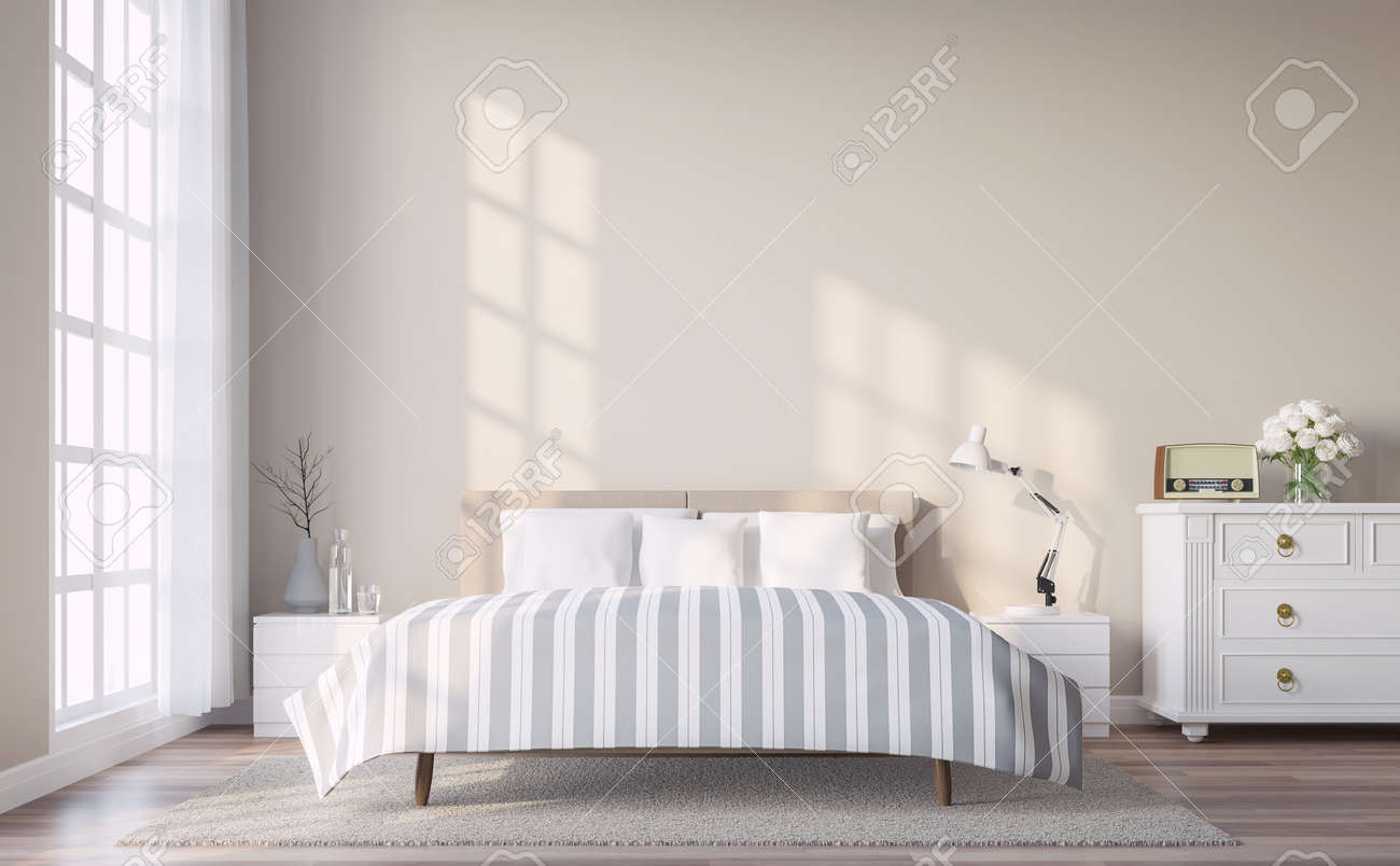 Modern Vintage Bedroom With Light Brown Wall 3d Render.The Rooms ...