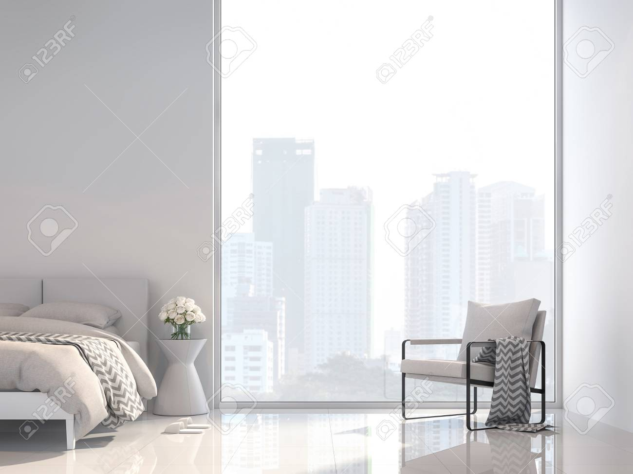 Minimal white bedroom with city view 3d render, Decorate with white fabric furniture ,The room has large windows,Sunlight shines into the room. - 109610421