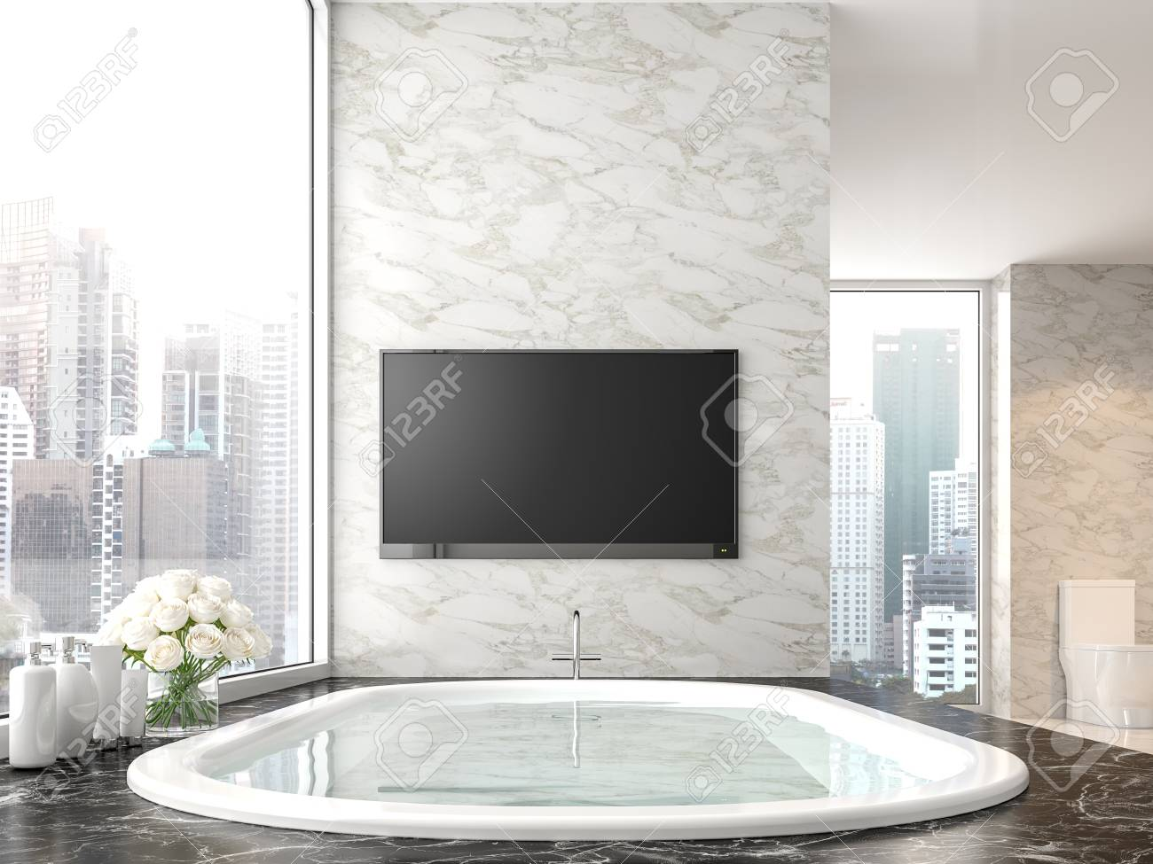 Luxury Bathroom With City View 3d Render There Are Black Marble Stock Photo Picture And Royalty Free Image Image 109610432