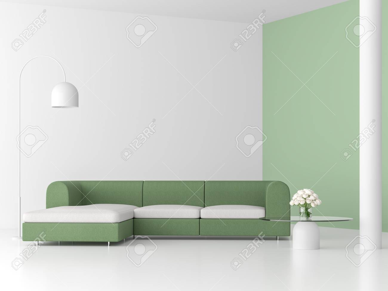 Minimal Style Living Room 3d Renderthere Are White Floorpastel