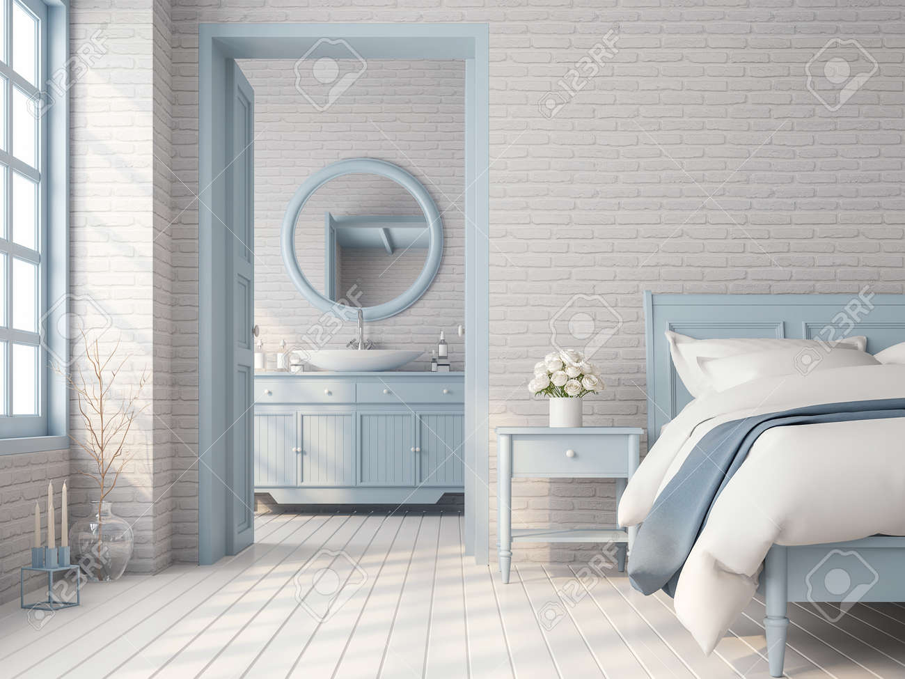Vintage bedroom and bathroom 3d render,There are white brick..