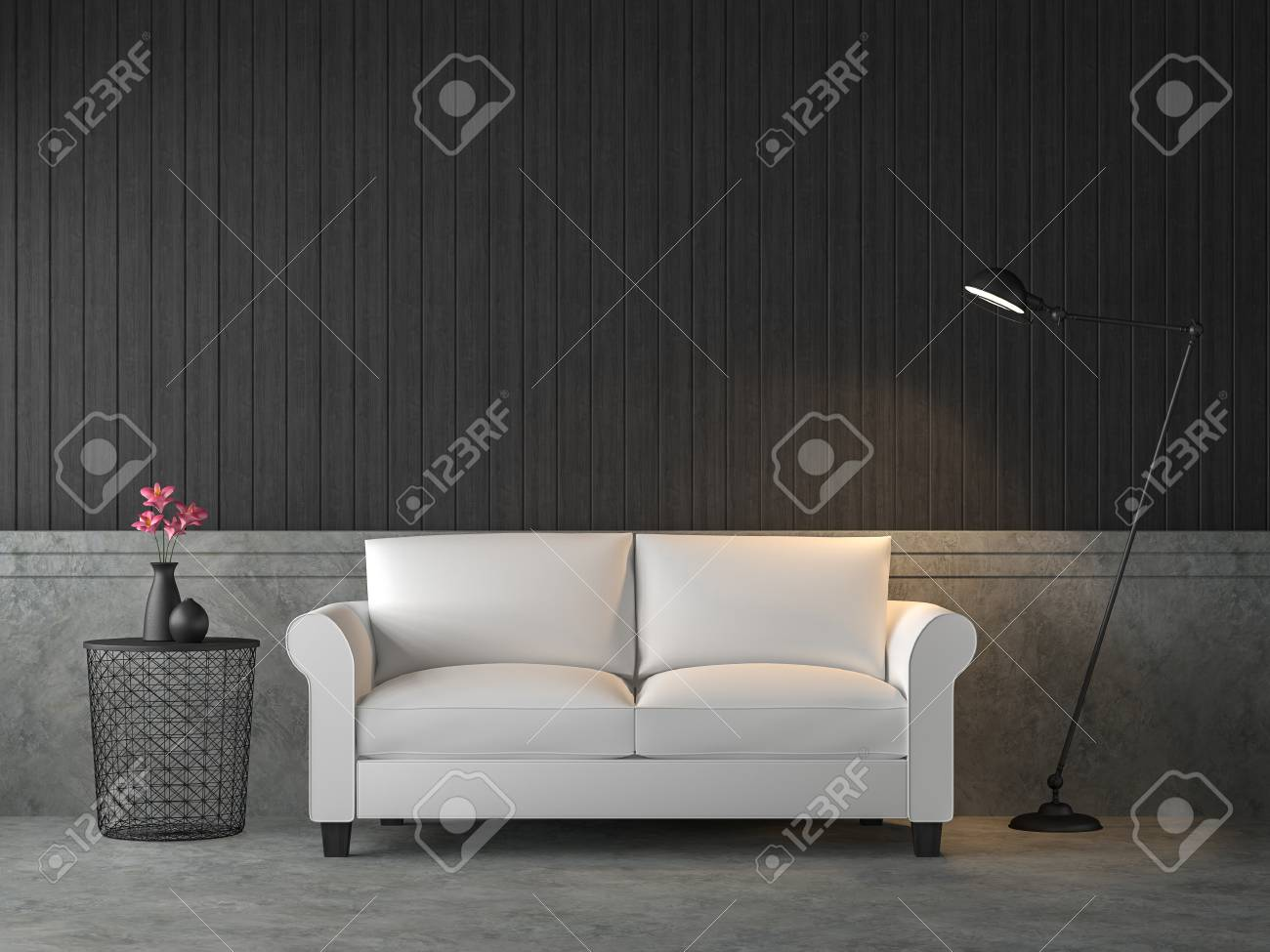Loft style living room 3d render,There are polished concrete wall and floor,furnished with white sofa,Decorating with industrial style lamp. - 120982614