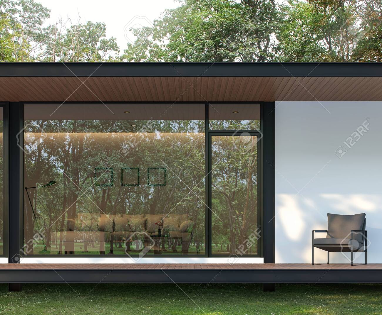 Exterior of modern house terrace in the garden 3d render, There are wooden floor and ceiling, There is a large glass window with a reflection of the surrounding nature. - 120982637