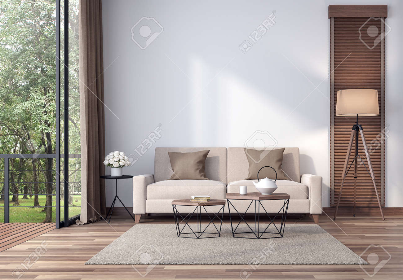 Contemporary Living Room 3d Render The Rooms Have Wooden Floors