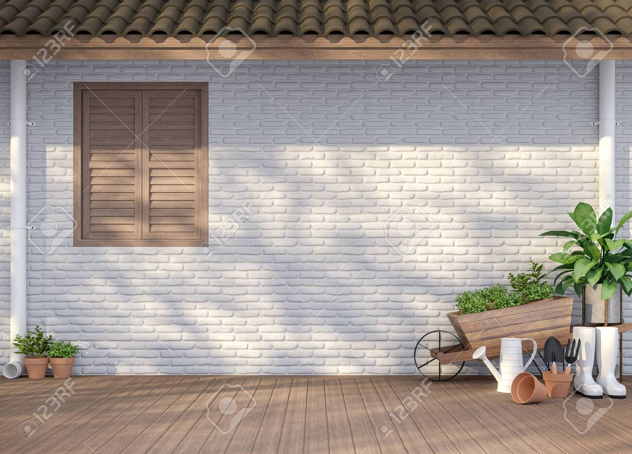 House Terrace With Garden Equipment 3d Render There Are Empty