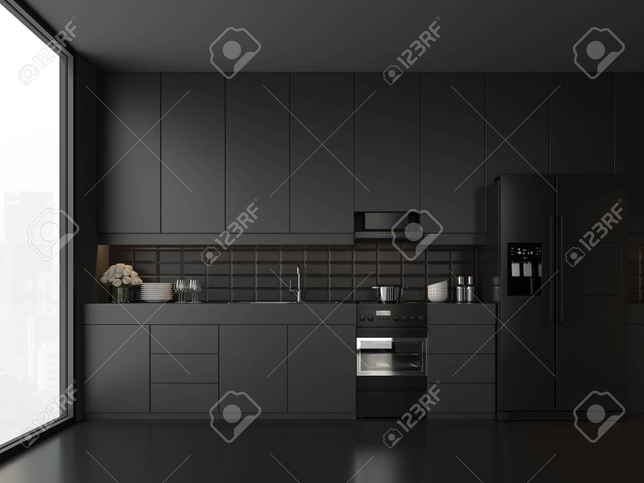 Minimal Style Black Kitchen 3d Render There Are White Floor And Stock Photo Picture And Royalty Free Image Image 123877428