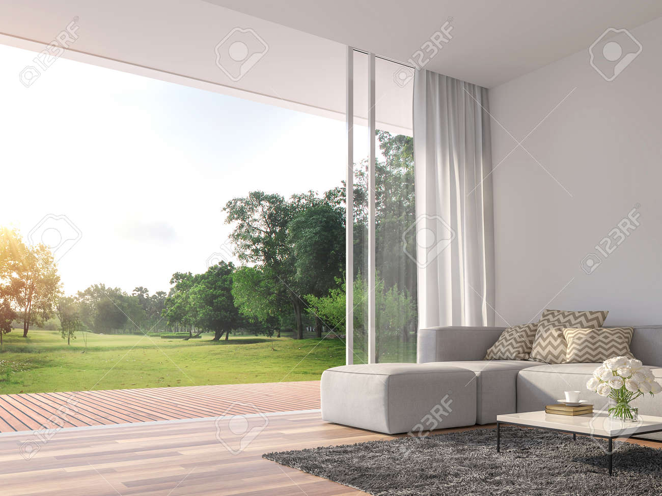 Modern living room 3d render.The Rooms have wooden floors ,decorate with white fabric sofa,There are large open sliding doors, Overlooks wooden terrace and big garden. - 123877435
