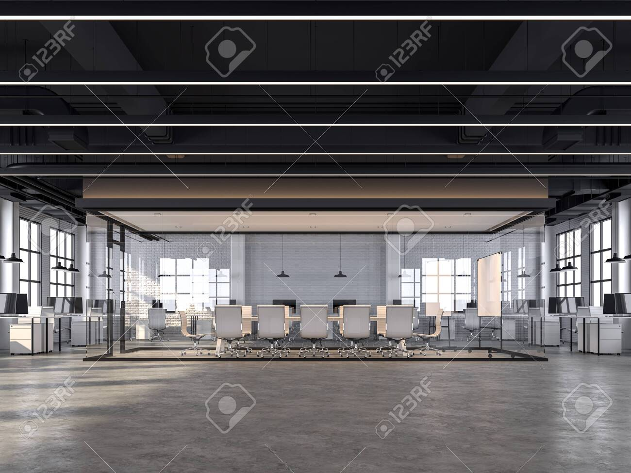 Modern Loft Style Office With White Brick Walls Polished Concrete Stock Photo Picture And Royalty Free Image Image 126735127