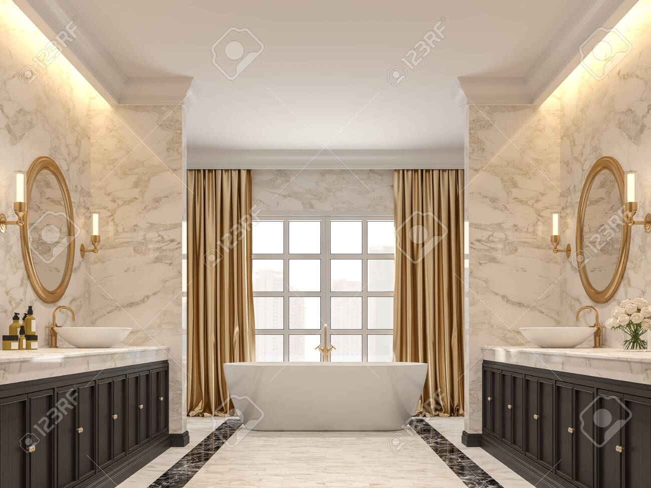 Luxurious Bathroom With White Marble Walls And Floors Black Stock Photo Picture And Royalty Free Image Image 126735130