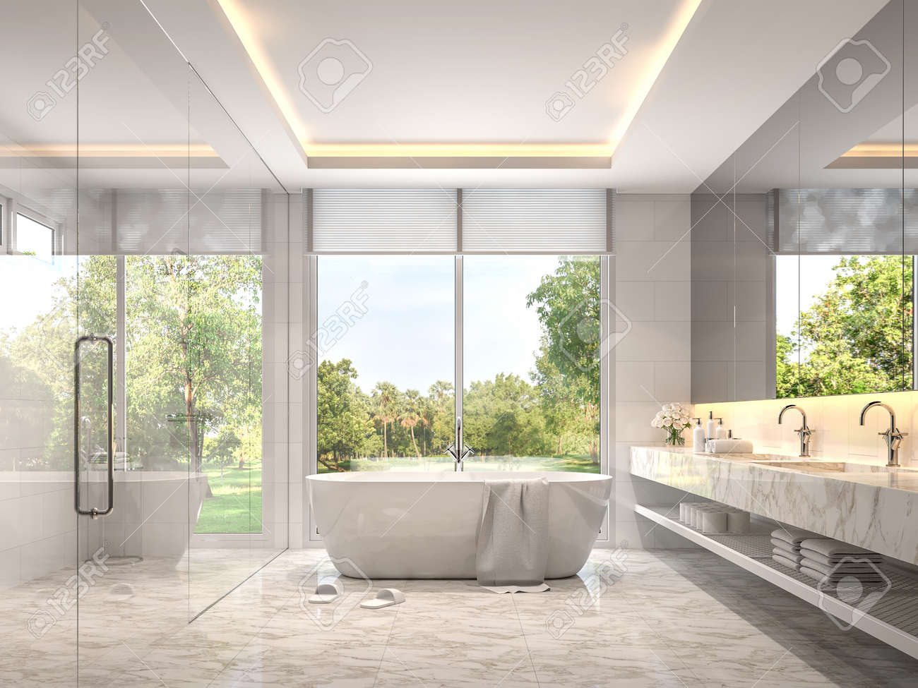 Modern Luxury White Bathroom 3d Render Room With Marble Tile