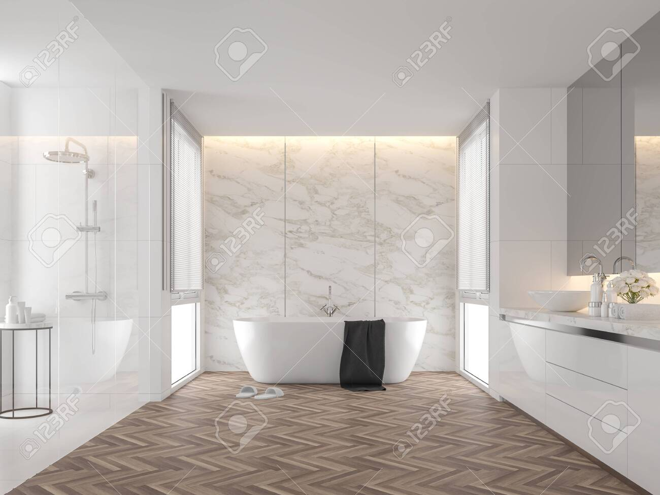 Luxury bathroom with white marble backdrop walls 3d render,The.. on wood marble, wood bathroom flooring, wood luxury bedroom, wood luxury kitchens,