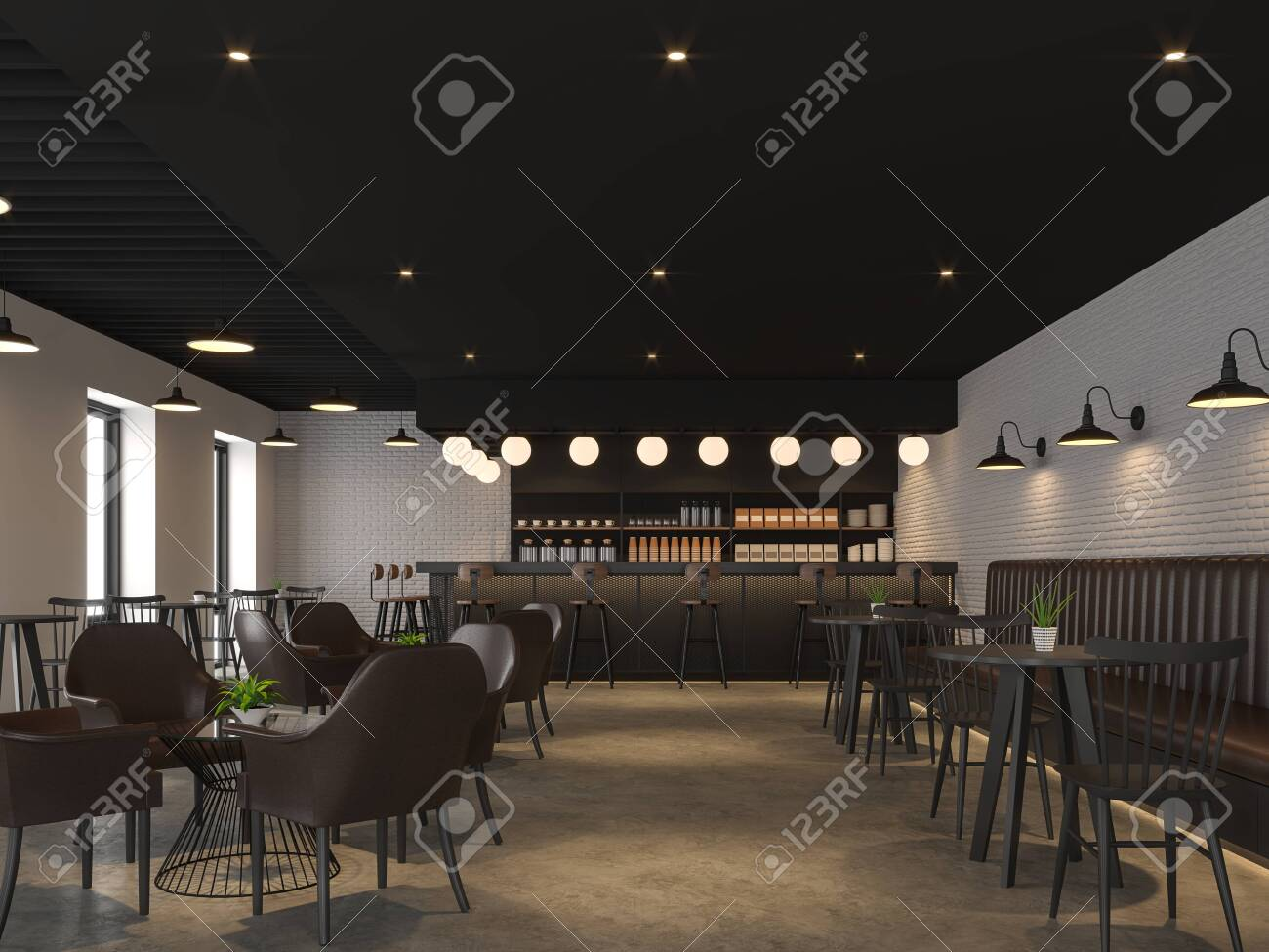 Industrial loft style coffee shop 3d render,There are concrete floors, white brick walls, black ceilings, decorate with black wood and dark brown leather furniture. - 131445620