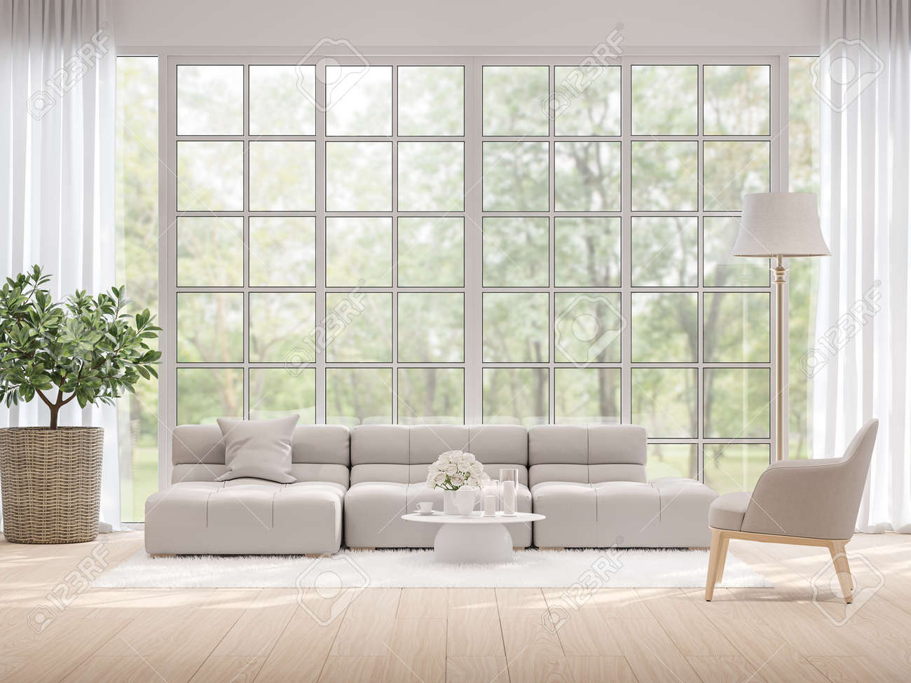 Moderm living room with blurry nature view background 3d render,There light wooden floor and large window overlooking to garden view. - 146964201