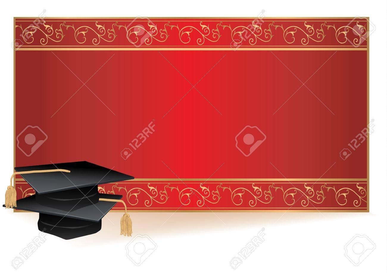 foto de archivo tarjeta de invitacin de graduacin con borde de oro con morteros