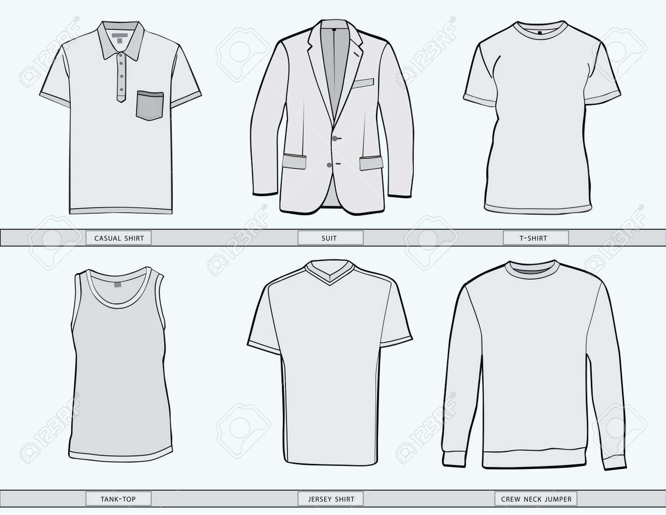 Mens Shirt ,suit, Jumper, Tank Top And Jersey Clothing Templates ...