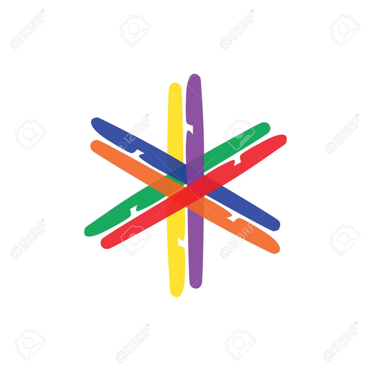 colorful hexagon logo web icon vector template. designed like a rainbow to show unity, creativity, integrity, community, plural, trust, balance, variation, etc. - 144476315