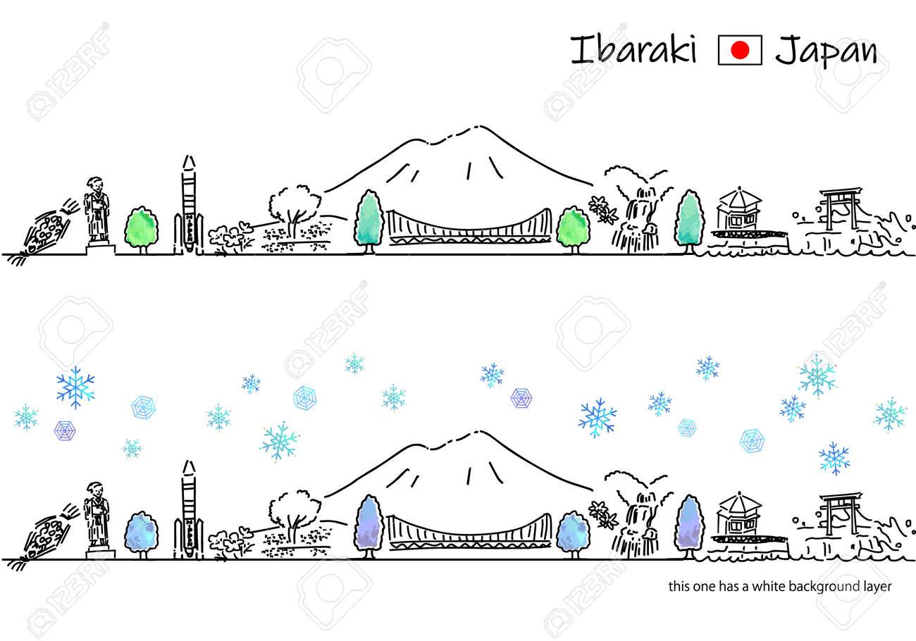 hand drawing cityscape IBARAKI in Winter - 171929257