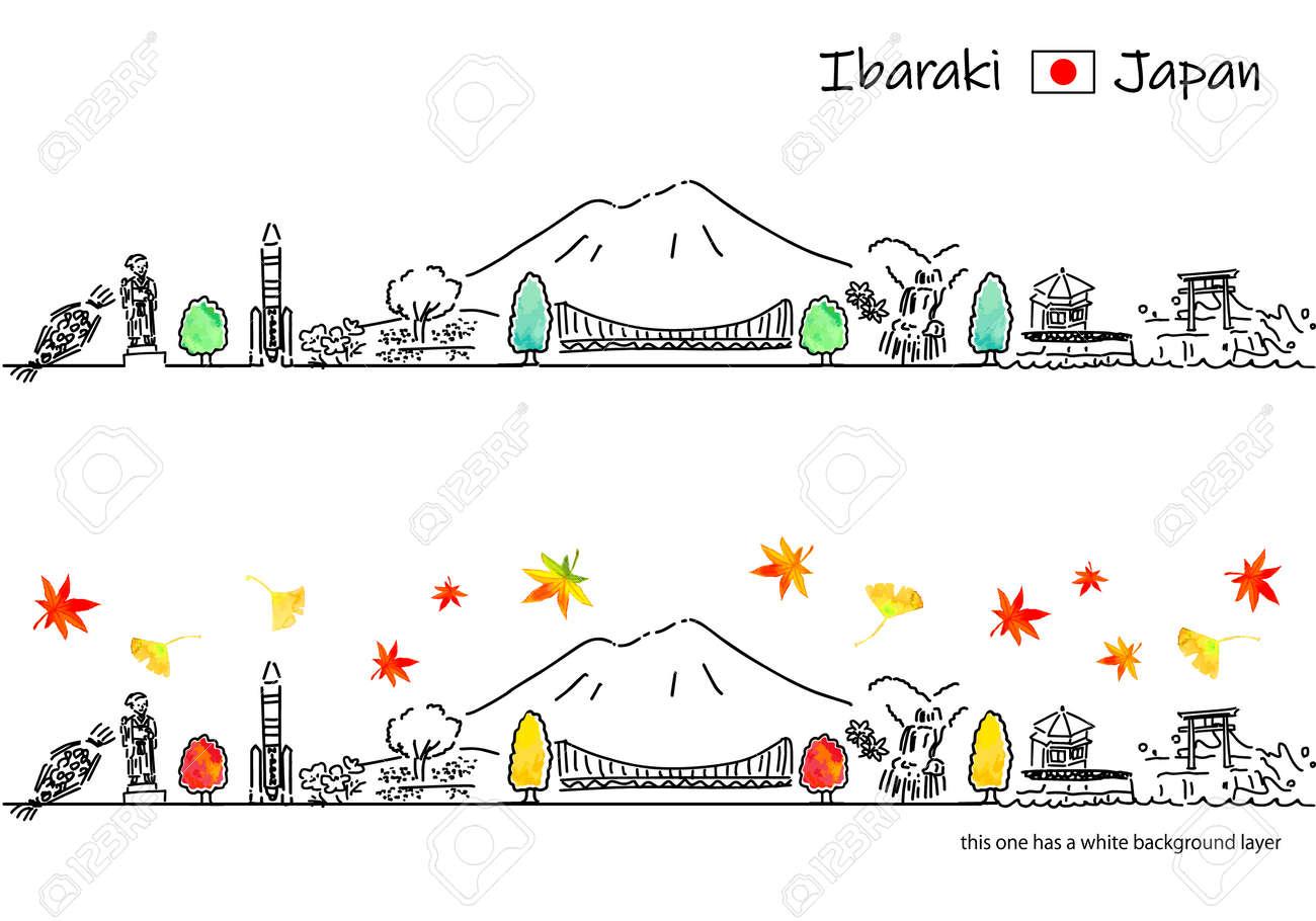 hand drawing cityscape IBARAKI in Autumn - 171926985