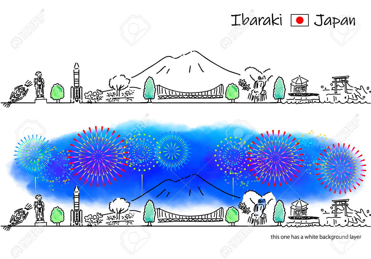 hand drawing cityscape IBARAKI and fireworks - 171929259