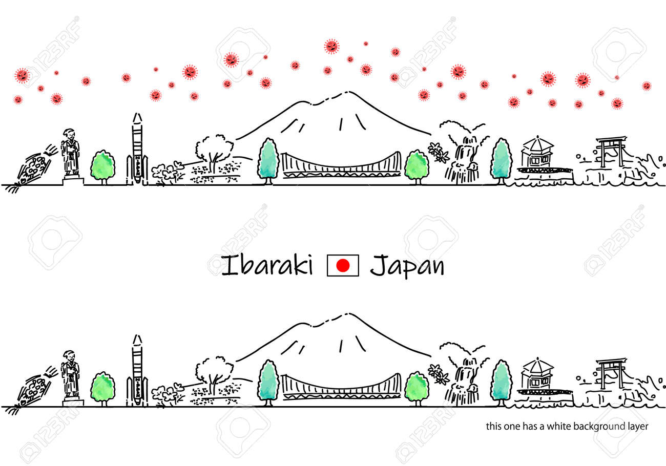 hand drawing cityscape IBARAKI with covid-19 - 171929260