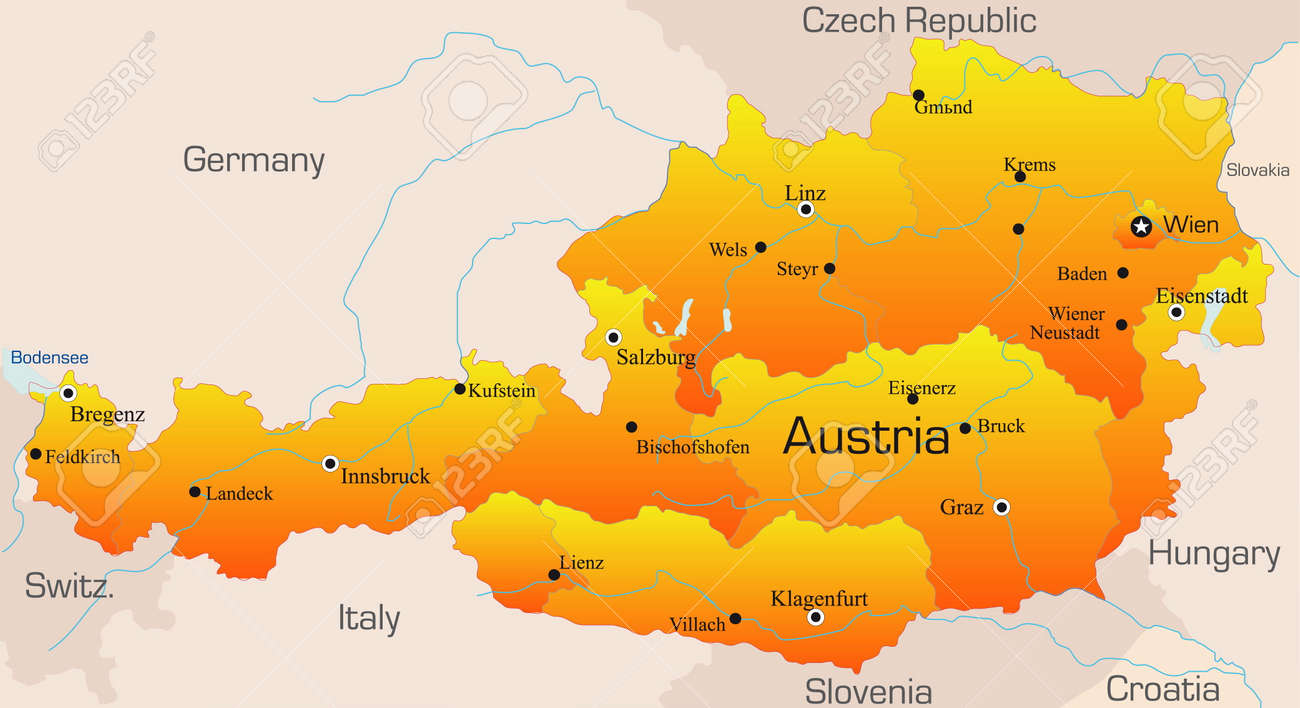 Abstract vector color map of Austria country