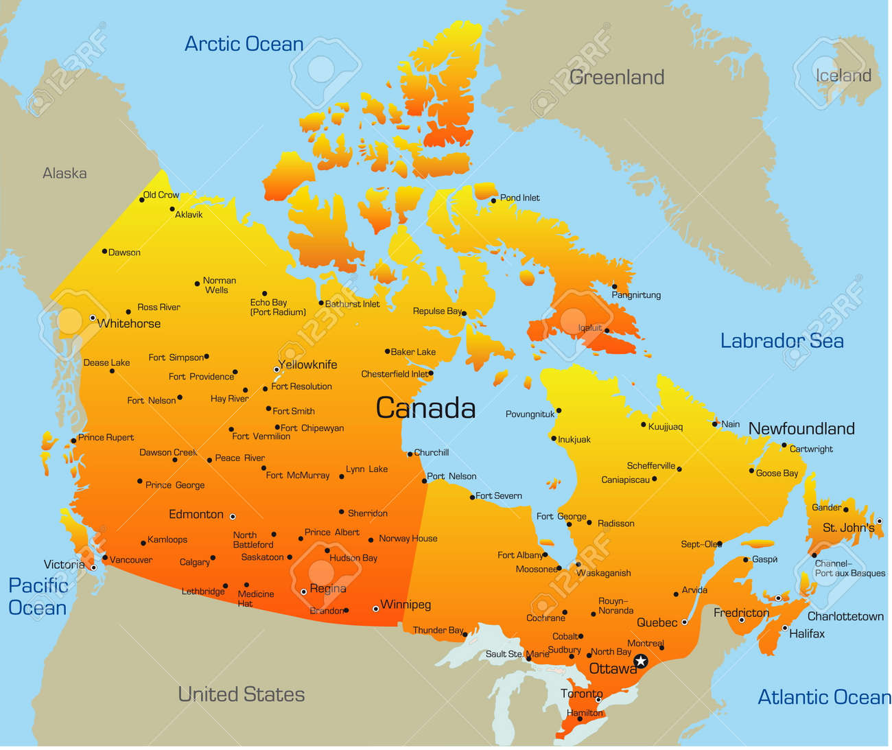 Map Of The Country Canada Abstract Vector Color Map Of Canada Country Royalty Free Cliparts