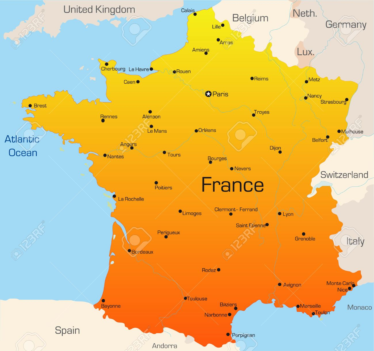 Country Map Of France.Abstract Vector Color Map Of France Country