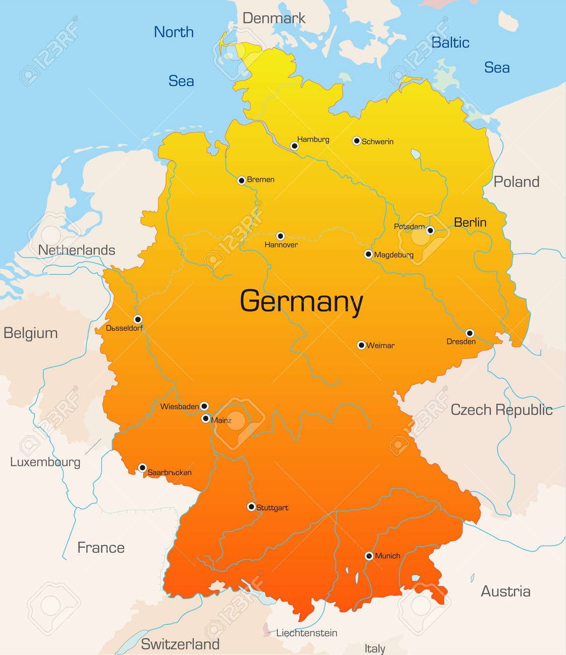 Country Of Germany Map.Abstract Vector Color Map Of Germany Country
