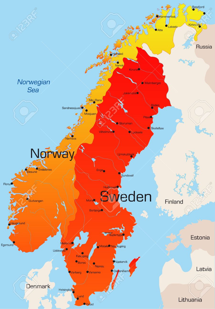Abstract Vector Color Map Of Norway And Sweden Country Royalty - Norway map vector countries