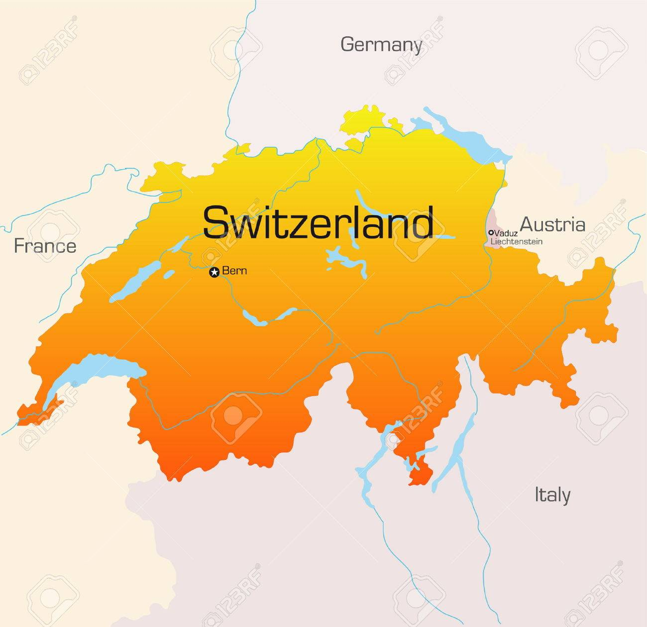 Abstract Vector Color Map Of Switzerland Country Royalty Free