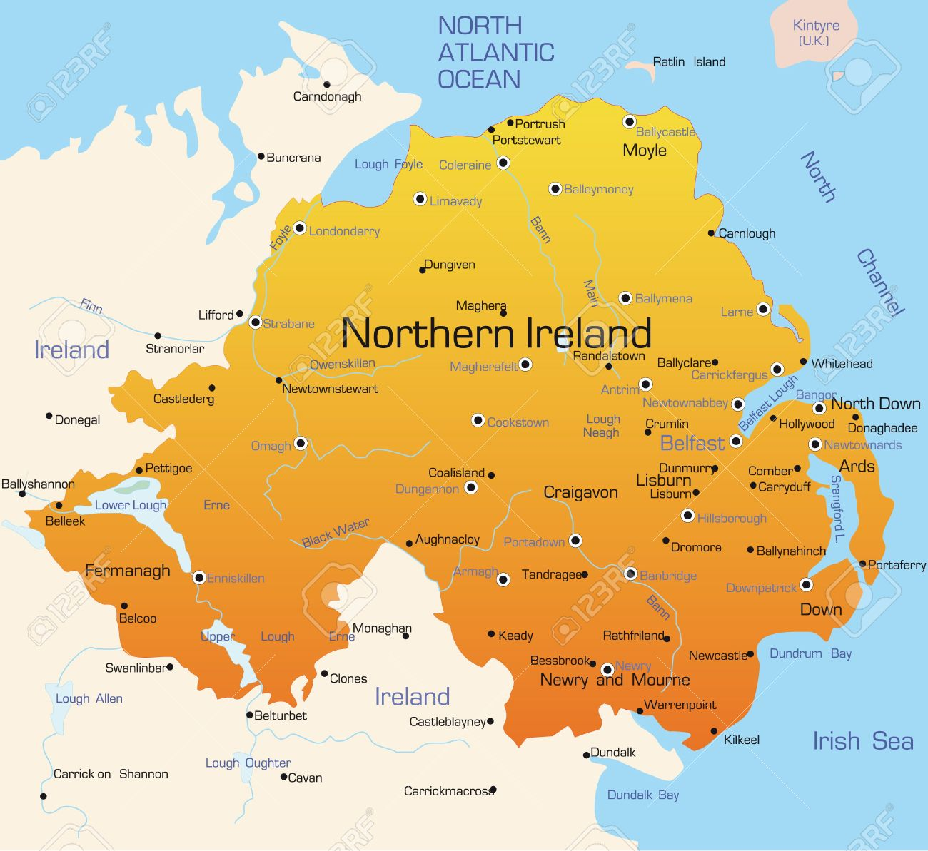 irlande du nord carte Résumé Vecteur Couleur De La Carte D'Irlande Du Nord Pays Clip Art