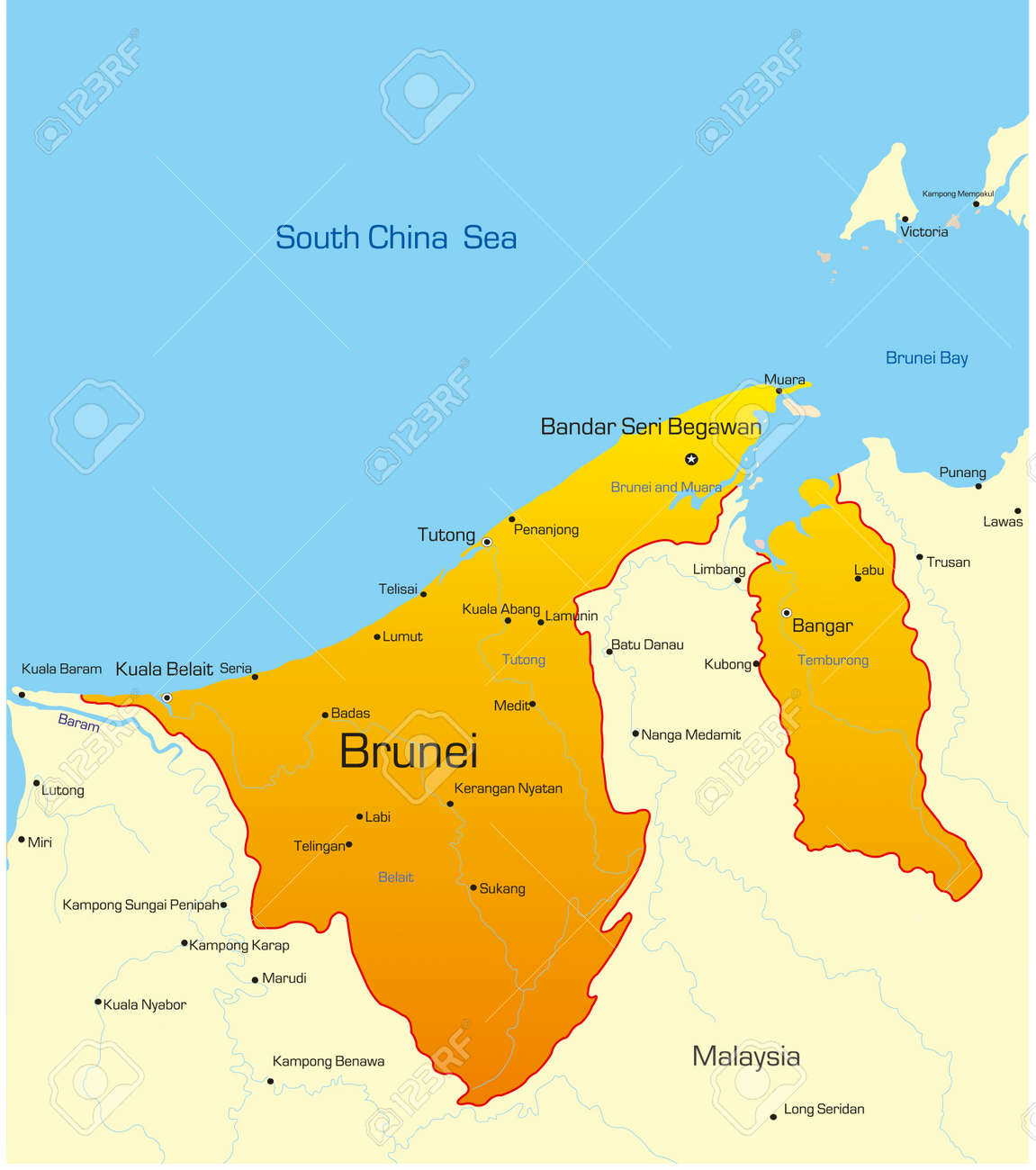 Vector Map Of Brunei Country Royalty Free Cliparts Vectors And - Brunei map