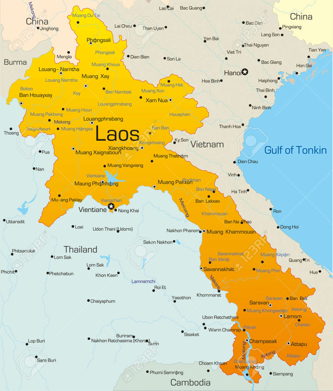 Map Of Laos Vector Map Of Laos Country Royalty Free Cliparts, Vectors, And  Map Of Laos