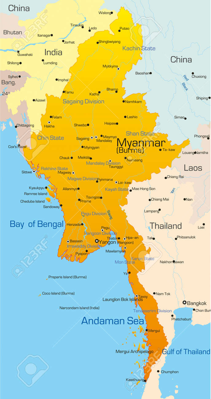 Vector Map Of Myanmar Country Royalty Free Cliparts Vectors And - Burma map
