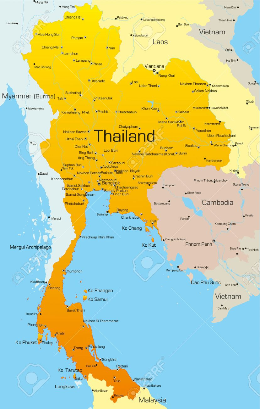 Vector Map Of Thailand Country Royalty Free Cliparts, Vectors, And ...