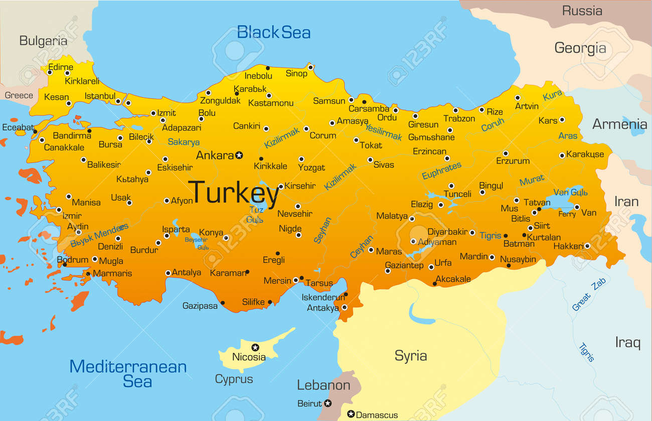 vector map of turkey country royalty free cliparts vectors and