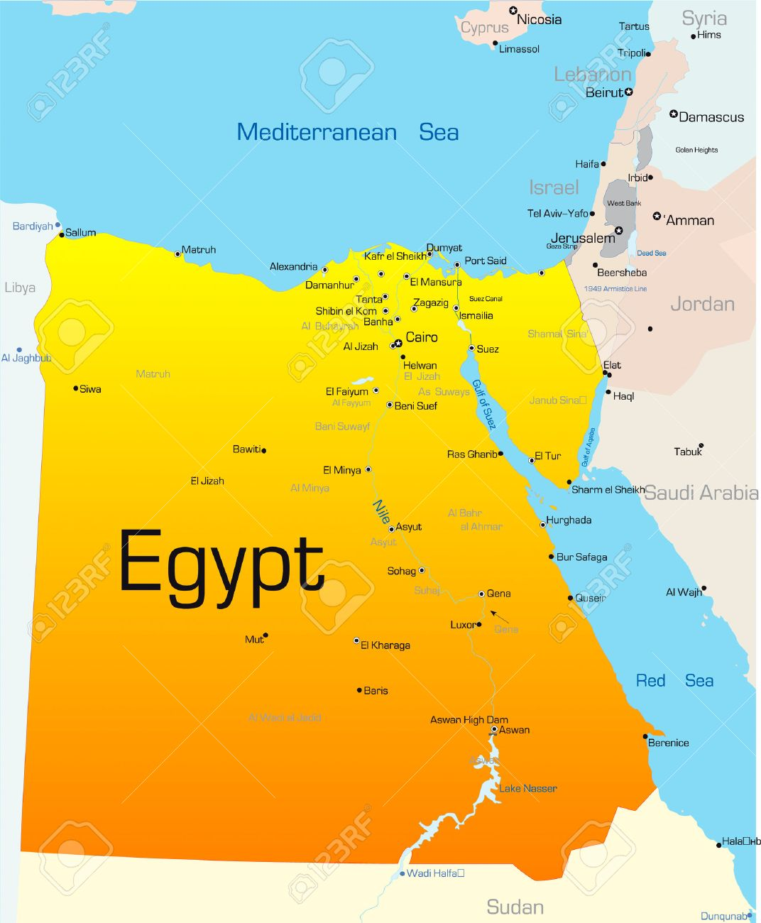 Abstract Vector Color Map Of Egypt Country Royalty Free Cliparts - Map of egypt vector