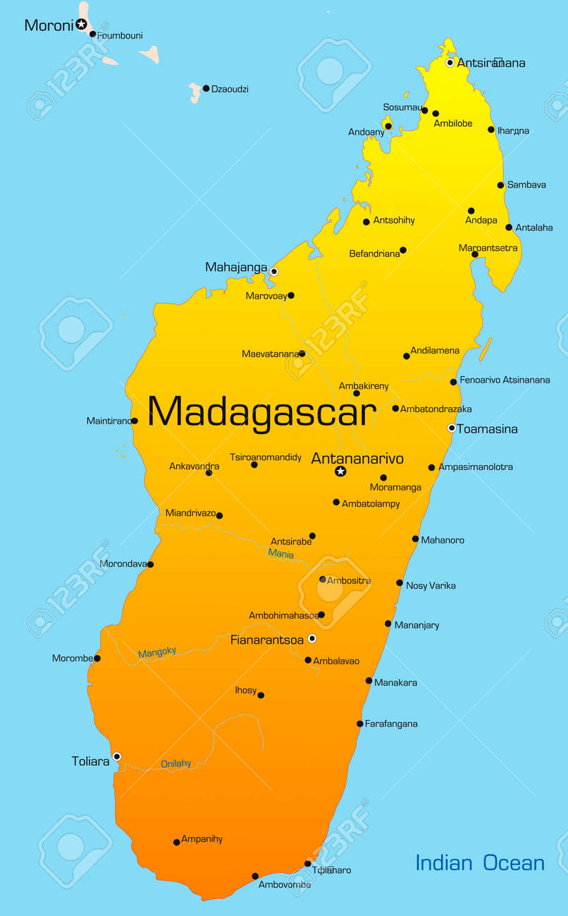 Madagascar Country Map Abstract Vector Color Map Of Madagascar Country Royalty Free
