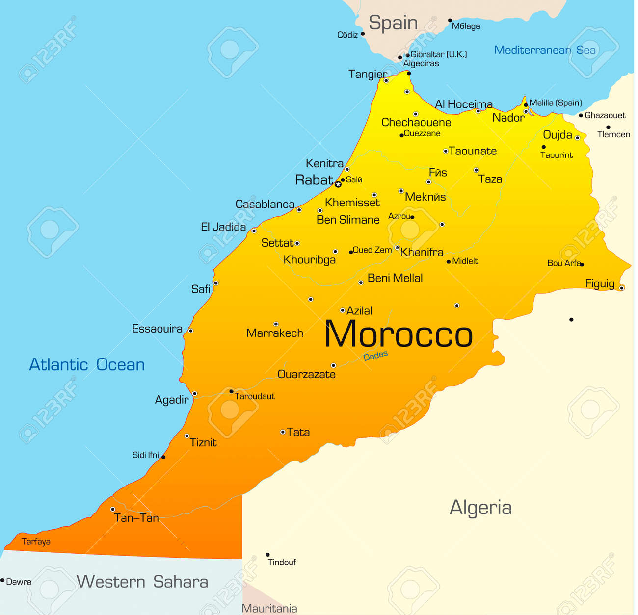 Abstract Vector Color Map Of Morocco Country Royalty Free Cliparts